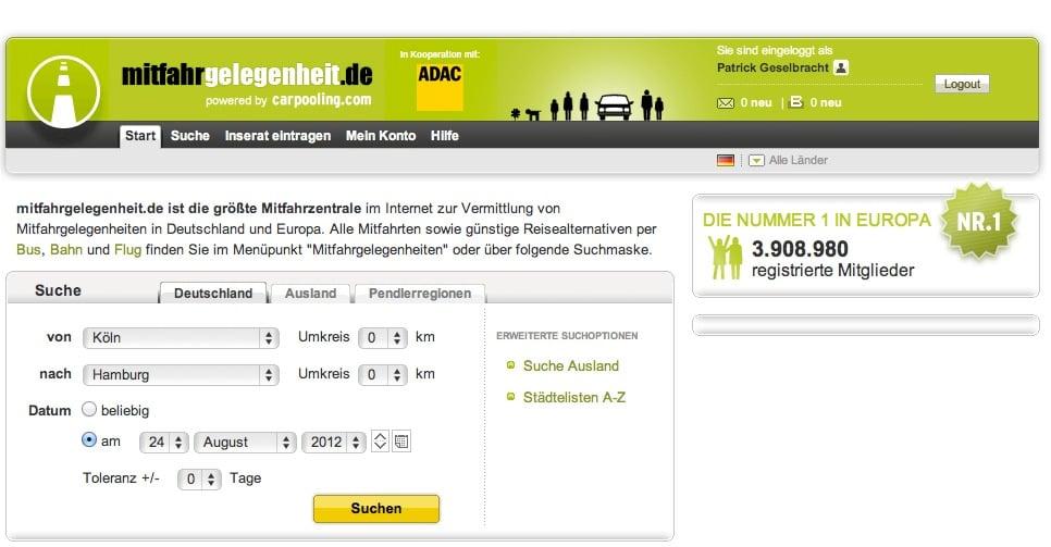 Fahrtdatenschablone auf Mitfahrgelgenheit.de