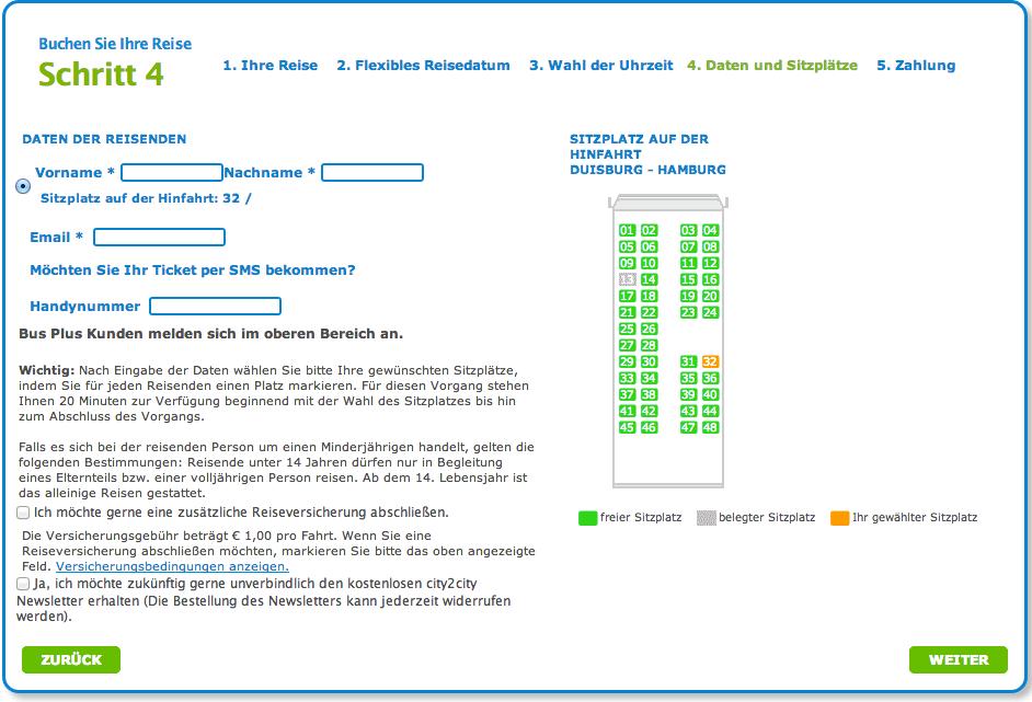 Screenshot der Sitzplatzauswahl bei City2City