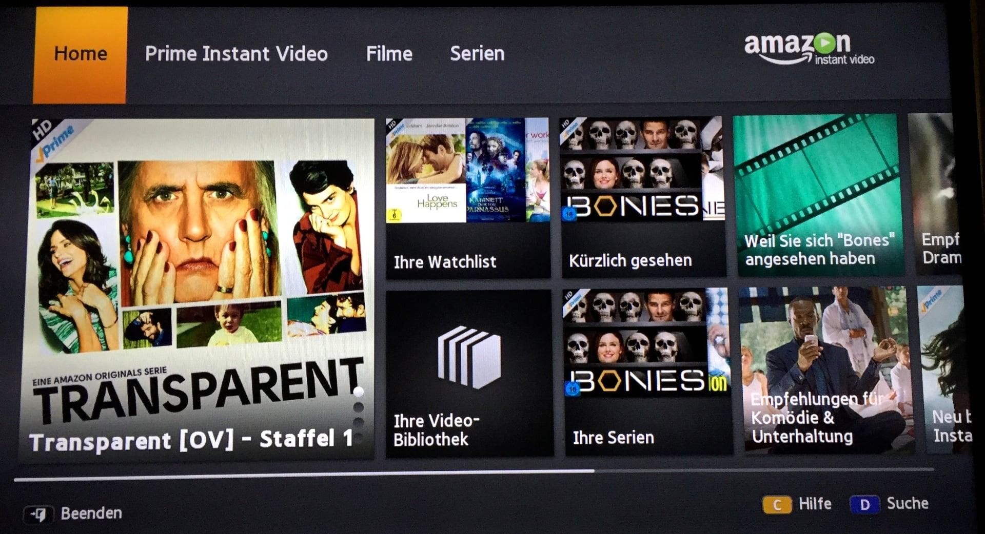 Amazon Instant Video App auf einem Samsung Smart TV