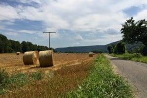 Heuballen auf Feld, im Hintergrund ein Strommast, rechts ein Radweg