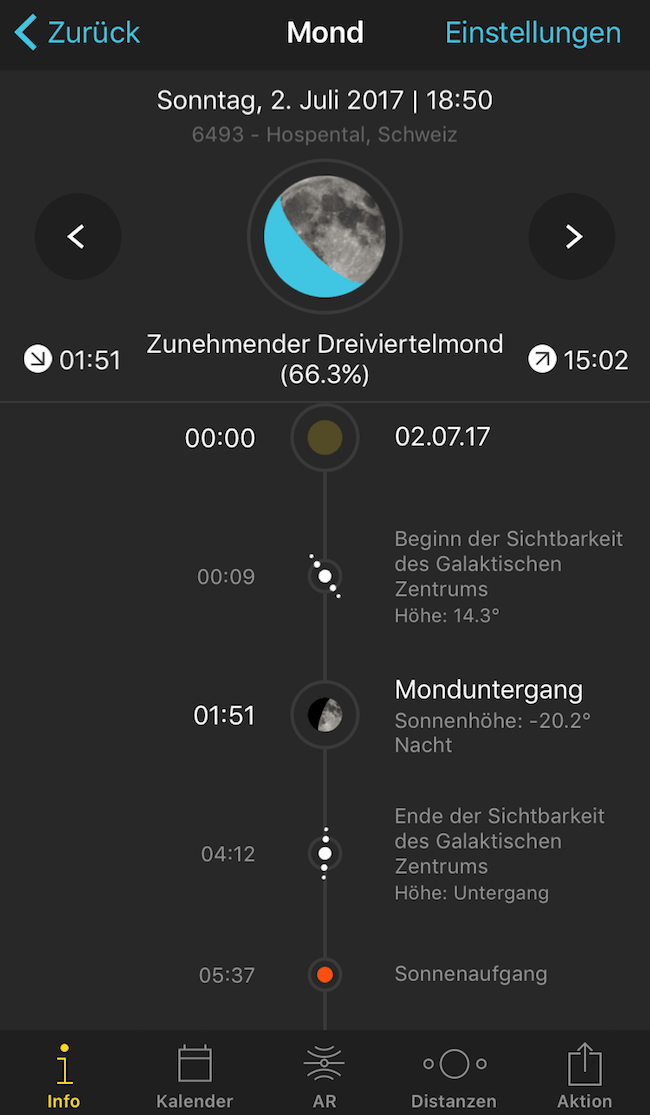 Screenshot des Mond-Moduls der PhotoPills iOS App