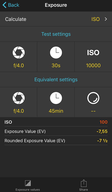 Screenshot des Belichtungsmoduls der PhotoPills App